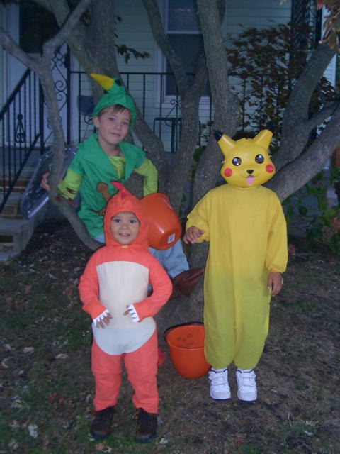 Elliot as Link, Alex as Pikachu, Nathan as a Dinosaur