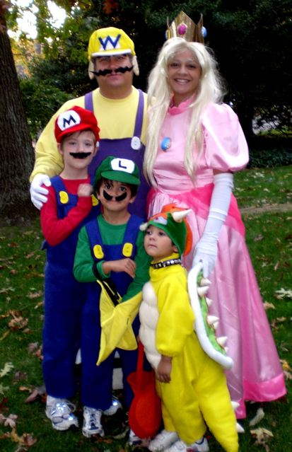 Wario, Princess Peach, Mario, Luigi & Bowser costumes